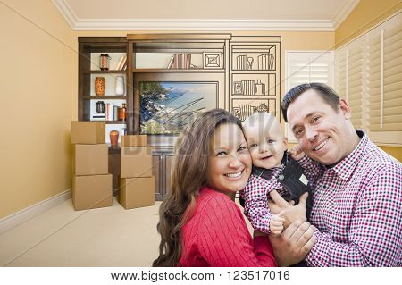Young Family In Room With Moving Boxes and Drawing of Entertainment Unit On Wall.