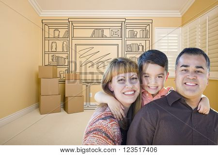 Happy Young Mixed Race Family In Room With Moving Boxes and Drawing of Entertainment Unit on Wall.