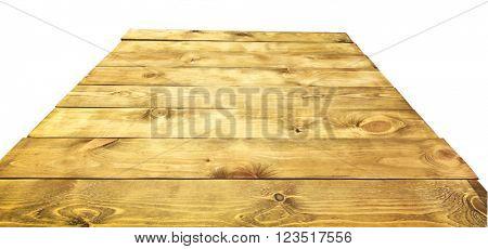 Old  wooden desk on white background