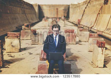 Businessman Connection Laptop Technology Concept