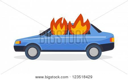 Burning car fire suddenly started engulfing all the car accident danger vector.
