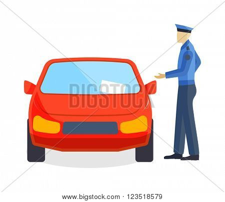Policeman writing speeding ticket driver parking attendant traffic warden car concept vector.
