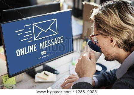 Online Message Global Communications Connection Concept
