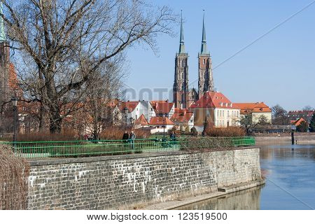 Wroclaw, Poland - Circa March 2012: Ostrow Tumski Island And Towers Of Gothic Cathedral Of St. John