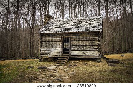 Pioneer Cabin. Historical pioneer cabin in the Cades Cove scenic area of the Great Smoky Mountains National Park in Gatlinburg, Tennessee. This is public historical display on federal  park lands and is not a private residence or property.