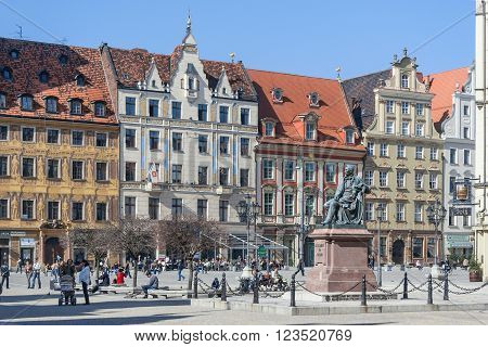 Wroclaw, Poland - Circa March 2012: Aleksander Fredr Monument On Central Market Square In  Wroclaw