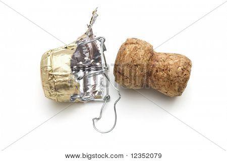 champagne cork on white background