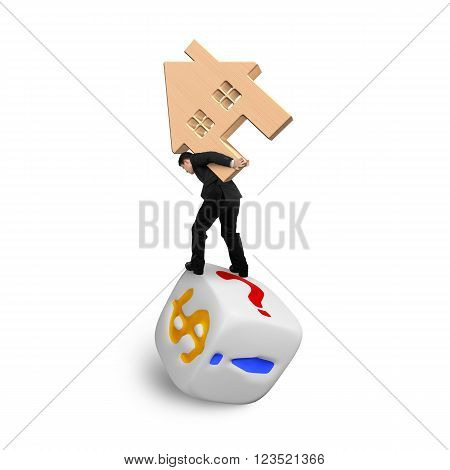 Businessman carrying wooden house balancing on dice of dollar sign and punctuation points isolated on white.