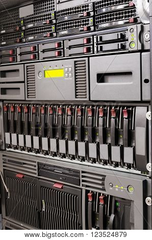 Rack mounted servers and storage system equipment vertical background