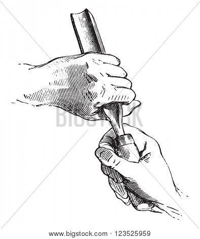 Both hands holding the gouge, vintage engraved illustration. Magasin Pittoresque 1853.