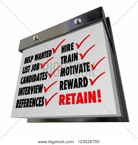 Open Position Job Hire Train Motivate Reward Retain Calendar