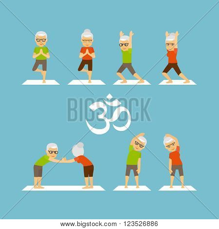 Yoga oldies. Old people yoga colorful icons on blue background. Vector illustration