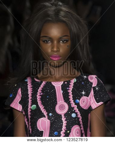 New York City, USA - February 15, 2016: Leomie Anderson walks the runway during the Jeremy Scott Women's show as a part of Fall 2016 New York Fashion Week