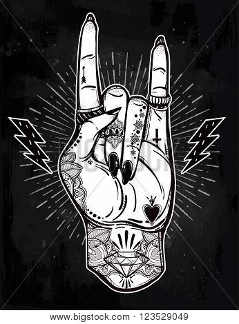 Hand drawn romantic flesh art rock festival poster. Rock and Roll hand sign. Vector illustration isolated. Tattoo design, music, occult symbol for your use.