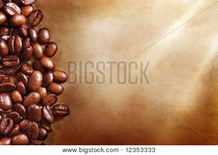 Coffee beans on vintage paper