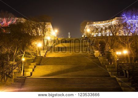 View of the Potemkin Stairs and the Monument to Duke de Richelieu at night. Odessa, Ukraine. 18 March 2016.