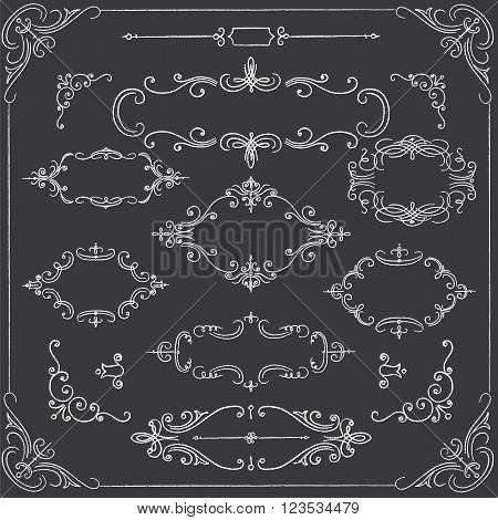 Chalkboard Frames - Set of ornate chalk frames. File is layered for easy editing.