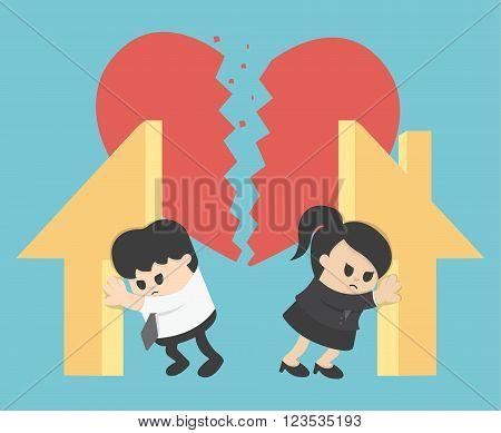 Illustration Relationship Divorcedivision of property vector eps .10
