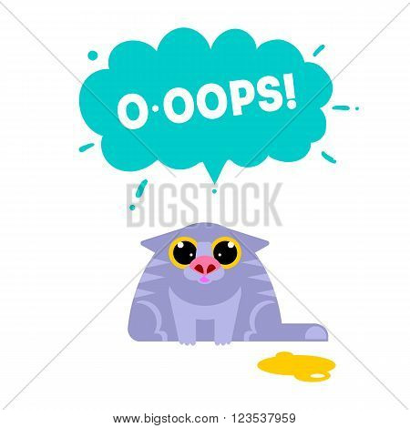 OOPS card with cat isolated on white background. Fun excuse concept vector illustration. Error idea web banner. Cat mistake. Expression oops. Sorry,  oh no.  404 error.  Regret,  fail,  wrong concept.