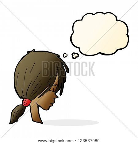 cartoon girl looking thoughtful with thought bubble