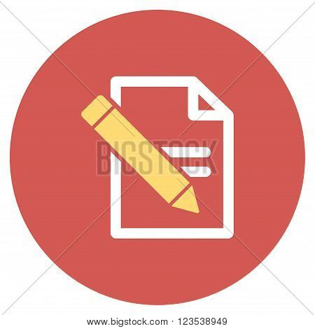 Edit Records vector icon. Image style is a flat light icon symbol on a round red button. Edit Records symbol.