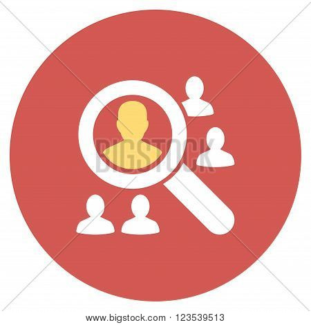 Explore Patients vector icon. Image style is a flat light icon symbol on a round red button. Explore Patients symbol.
