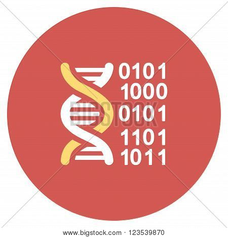 Genome Code vector icon. Image style is a flat light icon symbol on a round red button. Genome Code symbol.