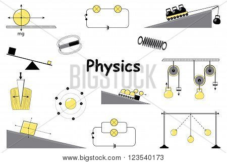 Physics and science icons set. Classical mechanics. Experiments equipment tools magnet atom pendulum Newton's Laws and the simplest mechanisms of Archimedes