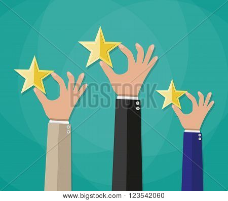 cartoon hands hold a gold stars, star rating. voting, user review, feedback concept. vector illustration in flat design on green background