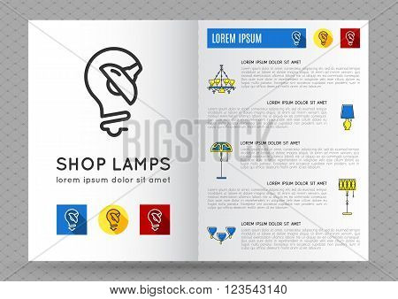 Catalog store lamps or bulbs. Brochure Flyer design template with flat lamps icons. Logo with image lamp and light. Designed by store lamps. Outline lamp icon, thin line style, flat design, vector