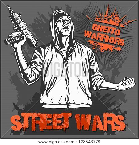 Ghetto Warriors vector illustration. Gangster on dirty graffiti dark background.