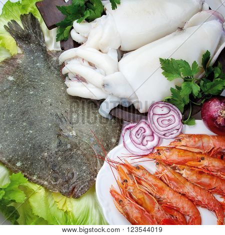 Food Cousine Fish Composition, Ingredient For Eating