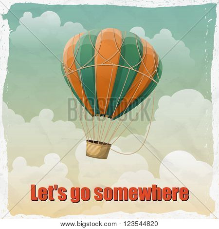 Vintage hot air balloon in the sky vector. illustration. Background. Greeting card. Poster template in retro style.