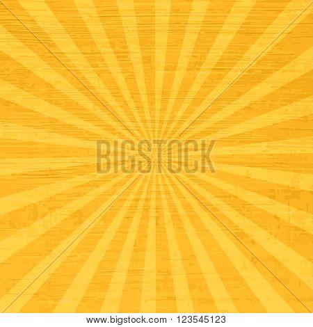 Retro sun rays - orange vintage background. Comics vector backdrop.