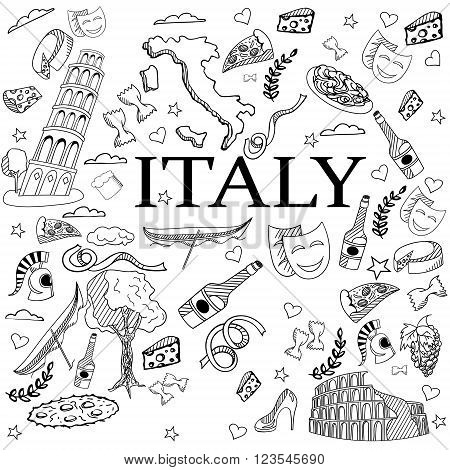 Italy coloring book line art design vector illustration. Separate objects. Hand drawn doodle design elements.