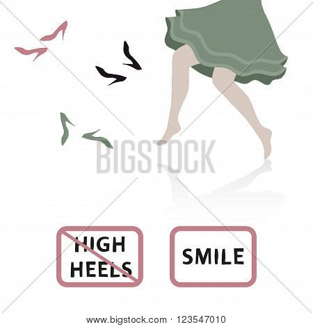High heels NO sign and barefoot girl. Vector flat paper style illustration.