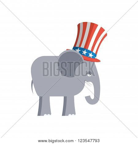 Elephant in Uncle Sam hat. Republican Elephant. Symbol of political party in America. Political illustration for elections in America poster