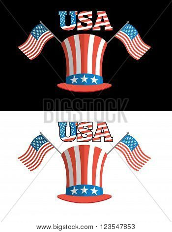 Set For Elections In America. Uncle Sam Hat. American Flag. Set For Political Debate In  United Stat