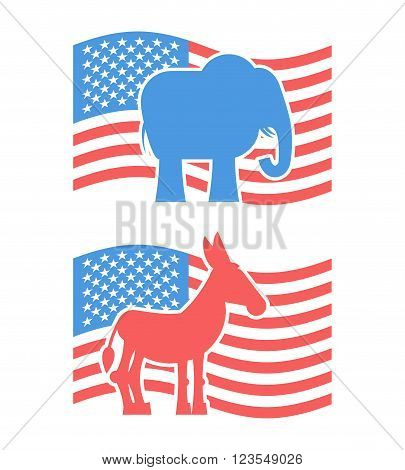 Donkey And Elephant Symbols Of Political Parties In America. Usa Elections. Democrats Against Republ