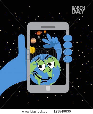 Earth Day. Earth Selfie. Planet Earth And Mobile Phone. Planet Earth Photographs Themselves. Cheerfu