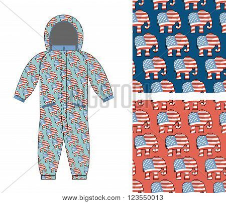 Republican Baby Childrens Clothing . Republican Elephant Seamless Pattern. Elephant Texture. Symbol