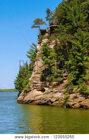 The cliffs of sandstone on the banks of the Wisconsin River
