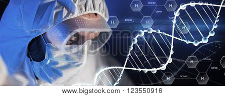science, chemistry, biology, medicine and people concept - close up of scientist face in goggles and protective mask at chemical laboratory over hydrogen chemical formula and dna molecule
