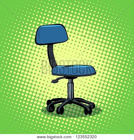 Office chair furniture pop art style retro. A chair on wheels. Chair with backrest. Retro office chair.