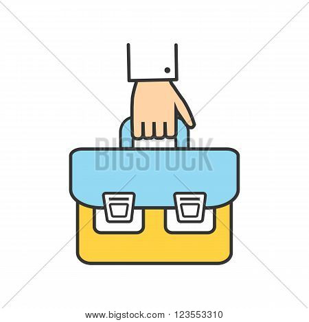 Hand briefcase logo icon success. Businessman bag. Office man with briefcase in hand. School bag. Portfolio icon. Thin line outline concept of hand holding briefcase vector illustration
