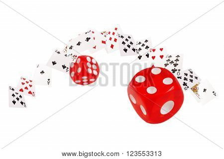 Playing cards and dice flying  on white background.