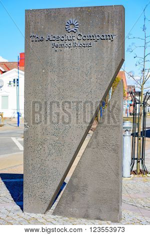 Ahus Sweden - March 20 2016: The stone monolith outside the Absolut Company with the logo on it. Th e Absolut Company manufactures the Absolut vodka.