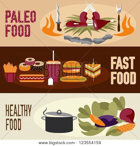 Flat Design Vector Banners With Paleo Food ,fast Food And Healthy Food