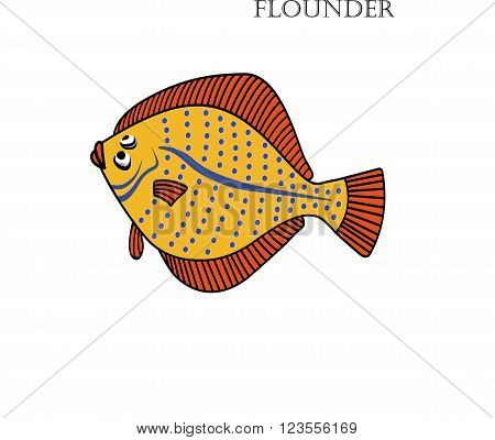 Flounder cartoon vector illustration. Flounder fishes on white background.Flounder vector. Flounder illustration. Flounder fish isolated vector.