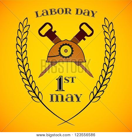 May Day. May 1st. Labor Day background with two crossed jackhammers and helmet . Poster greeting card or brochure template symbol of work and labor vector icon